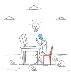 business man working on computer with light bulb vector image