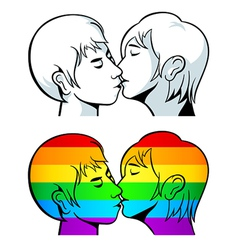 Gay kiss vector image vector image