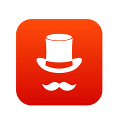 magic black hat and mustache icon digital red vector image