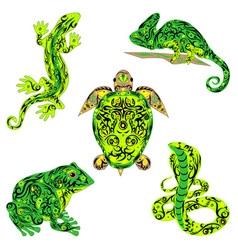 set of reptiles green vector image vector image
