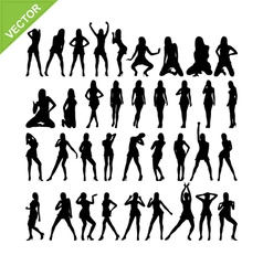 Sexy women and dancing silhouettes set 15 vector