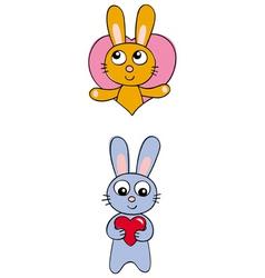 valentine bunnies vector image