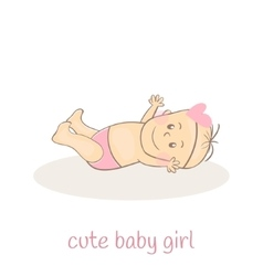 Cute little baby girl newborn baby icon smiling vector