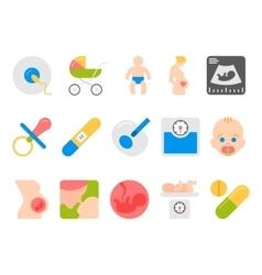 Medicine pregnancy motherhood flat icons vector image vector image