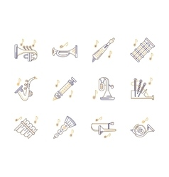 Wind instruments tunes color line icons set vector image vector image