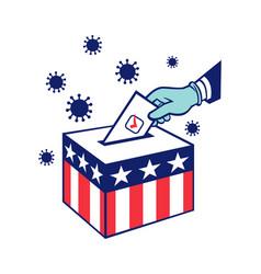 American voter voting during pandemic lockdown vector