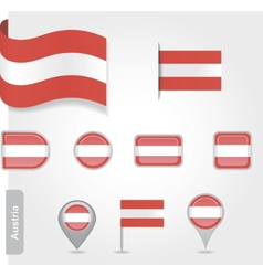 Austria flag icon set vector image