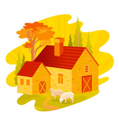 autumn fall landscape house feom four seasons vector image
