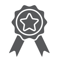 Badge with ribbons glyph icon e commerce vector
