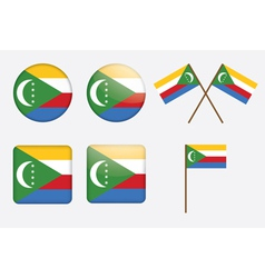 badges with flag of Union of the Comoros vector image