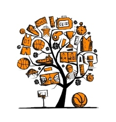 Basketball tree concept sketch for your design vector image