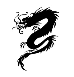 Black paper cut out of a Dragon china vector