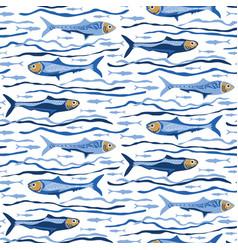 Blue sardines fish seamless pattern vector