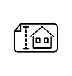 blueprint house architecture icon line style vector image