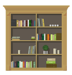 Book wooden cabinet vector