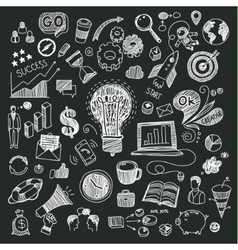 Business doodles on blackboard vector