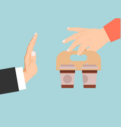 Businessman reject coffee vector