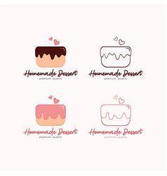 Cake logo dessert and bakery template logo sign vector
