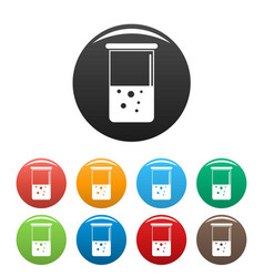 Chemical pot icons set color vector