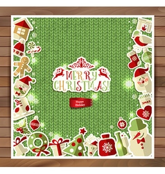 Christmas on red knitting texture vector