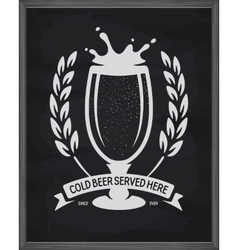Cold beer served here poster Pub emblem on vector image