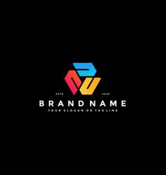 Colorful hexagon letter c logo design vector