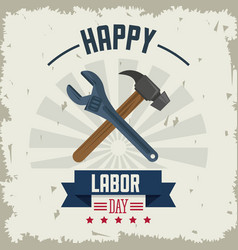 Colorful poster of happy labor day with tools vector