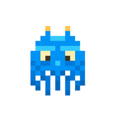 cute blue space invader monster game enemy vector image