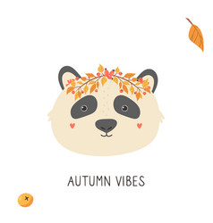 Cute panda in autumn wreath on white background vector