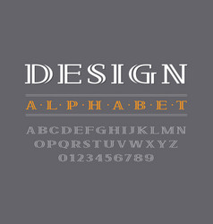 Decorative bold serif font uppercase letters and vector