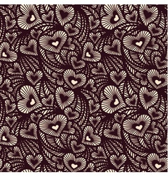 Decorative lace pattern with hearts vector image