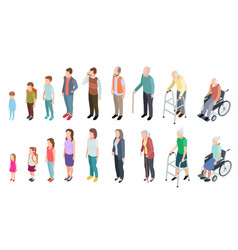 Different generations isometric people adult vector
