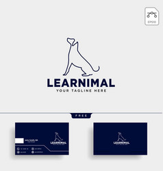 dog pet animal line art style logo template icon vector image