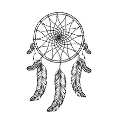 Dream catcher with feathers in zentangle style vector