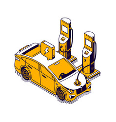 electric refueling car isometric icon green fuel vector image