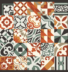 encaustic floral and geometric tiles patchwork vector image