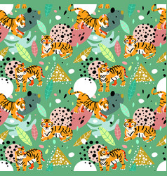 exotic abstract pattern with leaves and tigers vector image