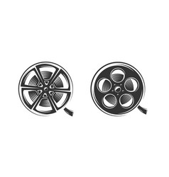 film reels silhouette isolated on white background vector image