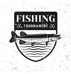 Fishing tournament badge shield with pike vector