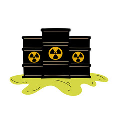 Flowing barrels nuclear waste ecological vector