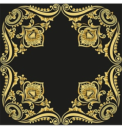 gold pattern black background vector image