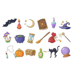halloween magic signs set wizard hat magic book vector image