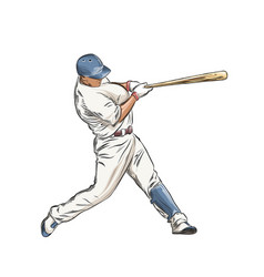 hand drawn sketch of baseball player in color vector image