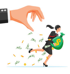 hand tries to grab money running businesswoman vector image