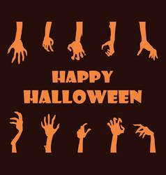 happy halloween banner hands vector image