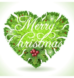 Holly Leaves Heart and Merry Christmas vector image