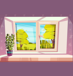 home window with beautiful view outside vector image