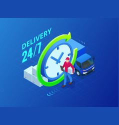 isometric delivery service delivery van and vector image
