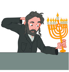 Jewish young man with full beard celebrating vector