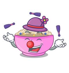 Juggling cooked whole porridge oats in cartoon pan vector